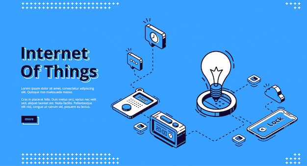 Landing page of iot technologies in smart home Free Vector
