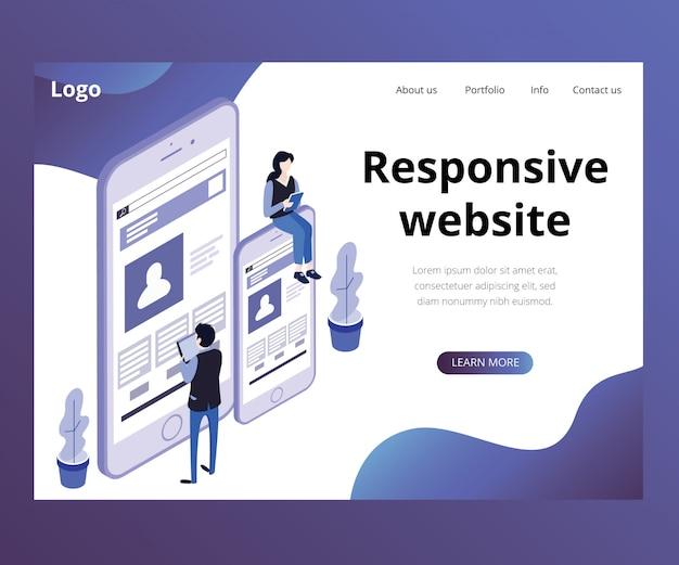 Landing page. isometric artwork concept of responsive website Premium Vector