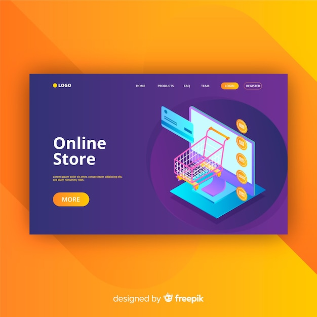 Landing page in isometric style of online store Free Vector