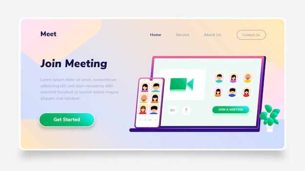 Целевая страница присоединяйтесь к конференции meeting gradient для смартфонов и ноутбуков, подходит для веб-баннеров, инфографики, книг, социальных сетей и других графических ресурсов Premium векторы