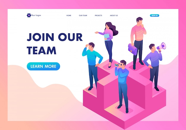 Landing page of join our team, we need professionals Premium Vector