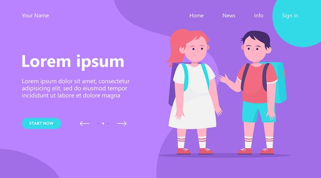 Landing page, little boy and girl chatting with each other. pupil, backpack, school flat vector illustration. friendship and childhood concept Free Vector