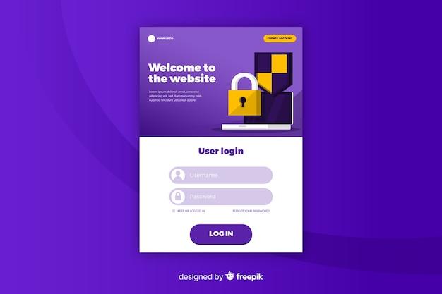 Landing page log in website Free Vector