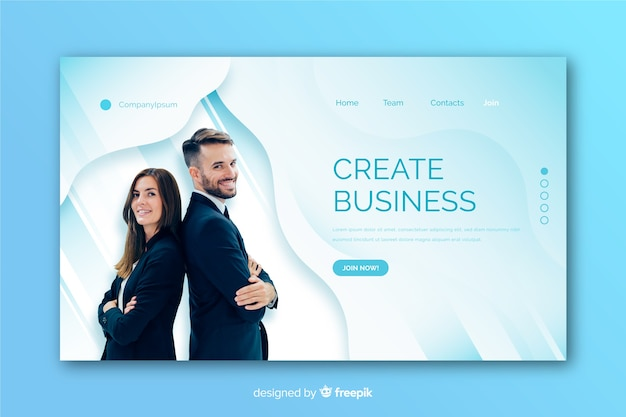 Landing page made for business with photo template Free Vector