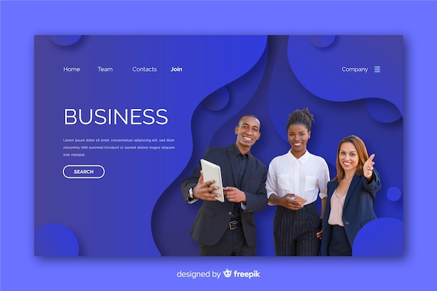 Landing page made for business with photo Free Vector