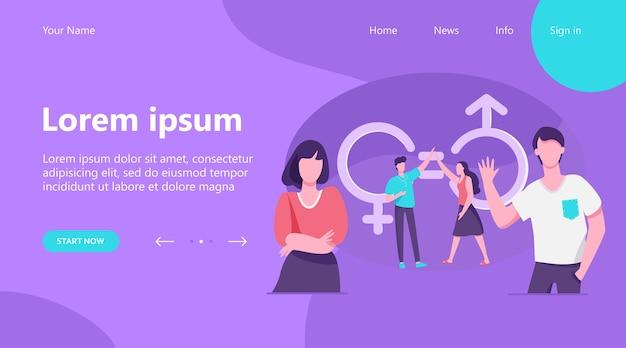 Целевая страница, мужчина и женщина дают пять. мужские и женские персонажи с гендерными символами и равными знаками. векторная иллюстрация равенства, дискриминации, концепции разнообразия Бесплатные векторы