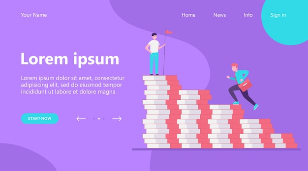 Landing page, man climbing on money bar chart. his colleague standing on top with flag flat vector illustration. finance, success, leader concept Free Vector
