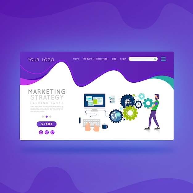 Landing page marketing strategy Premium Vector