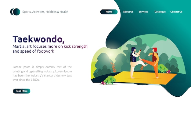 Landing page of martial art focuses on kick strength and speed of foot Premium Vector