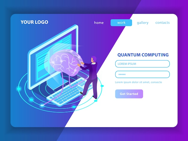 Landing page mockup for deep learning of information  in field of artificial intelligence and quantum computing isometric Free Vector