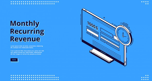 Landing page of monthly recurring revenue Free Vector