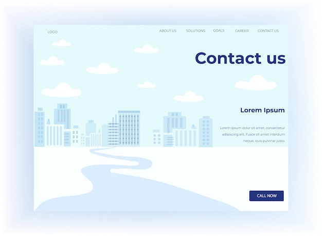 Landing page motivate to contact with call center Premium Vector