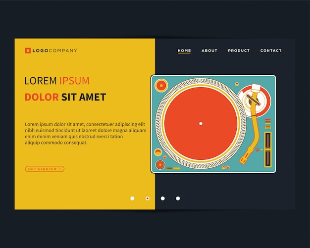 Landing page of music concepts for website and mobile development Premium Vector