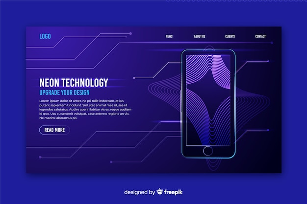 Landing page neon with smartphone Free Vector