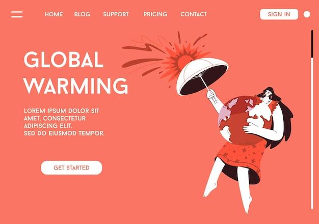 地球温暖化の概念のランディングページ Premiumベクター