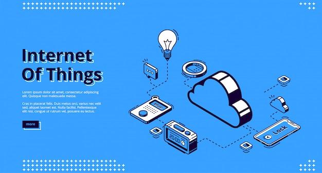 モノのインターネットの概念のランディングページ 無料ベクター
