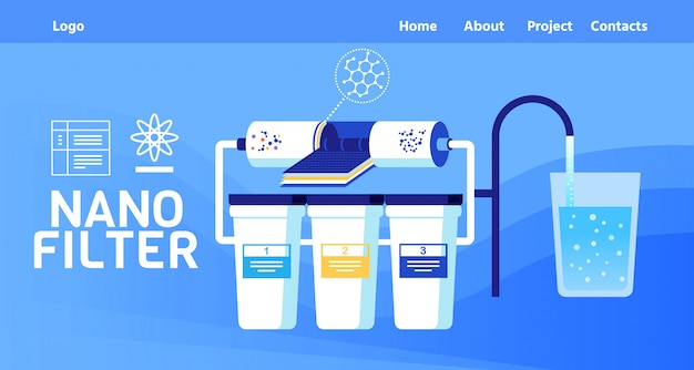 Landing page offer nano filter for water cleaning Premium Vector