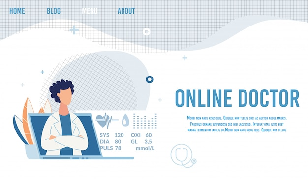 Landing page offer online doctor for consultation Premium Vector