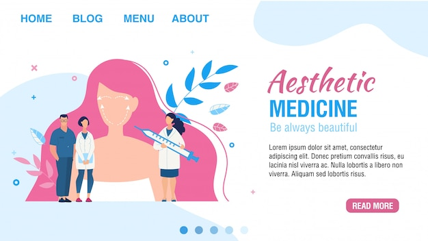 Landing page offering aesthetic medicine service Premium Vector