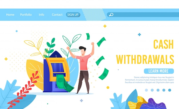 Landing page offering service for cash withdrawals Premium Vector