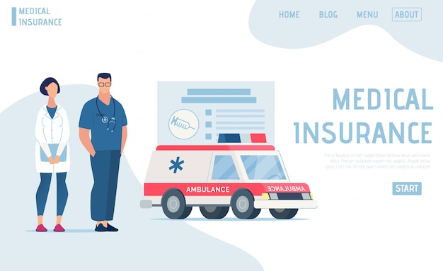 Landing page offers professional medical insurance Premium Vector