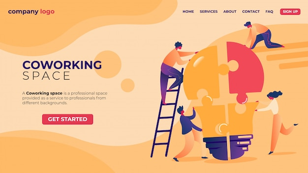 Landing page. office businesspeople in coworking place teamwork. Premium Vector
