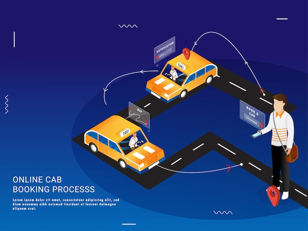 Landing page for online cab booking process in 3 easy steps. Premium Vector
