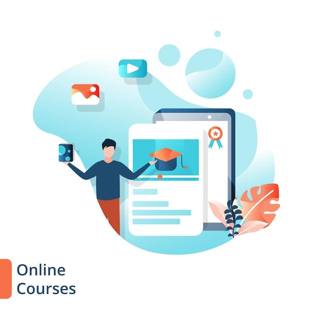 リンク先ページのオンラインコースの図、教育オンライン、 Premiumベクター
