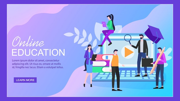 Landing page. online education page on notebook woman student man teacher Premium Vector