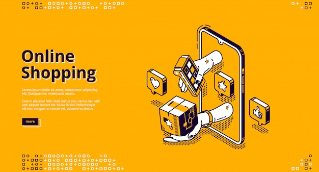 Landing page of online shopping Free Vector