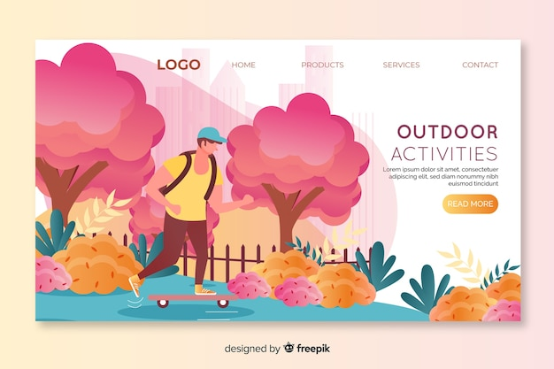 Landing page for outdoor activities with boy skating Free Vector