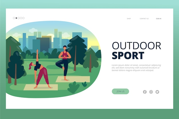 Landing page outdoor sport template Free Vector