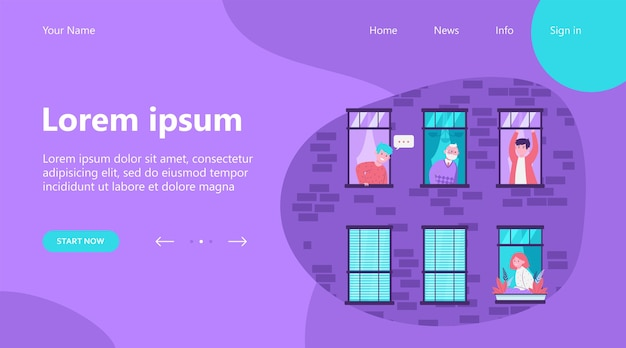 Landing page, people living in one building. apartment, window, neighbor flat vector illustration. lifestyle and neighborhood concept Free Vector
