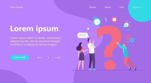 Landing page, people searching solutions and asking for help. men and women discussing huge question mark. vector illustration for communication, assistance, consulting concept Free Vector