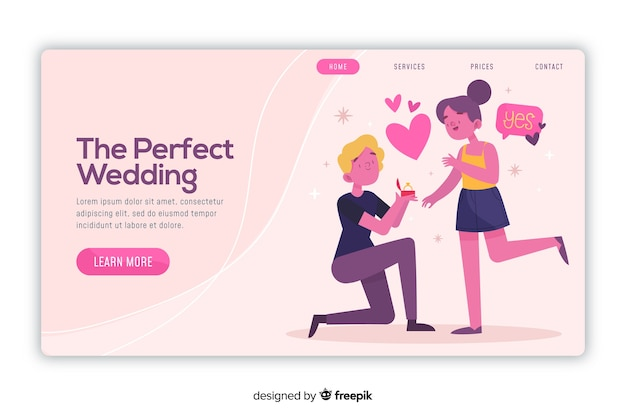 Landing page perfect wedding Free Vector