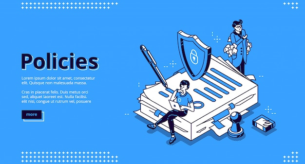 Landing page of policies, rules and agreement Free Vector