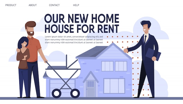 Landing page presents sales company rent agency Premium Vector