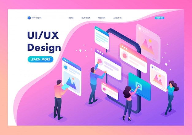 Landing page of the process of creating an application design, ui ux Premium Vector