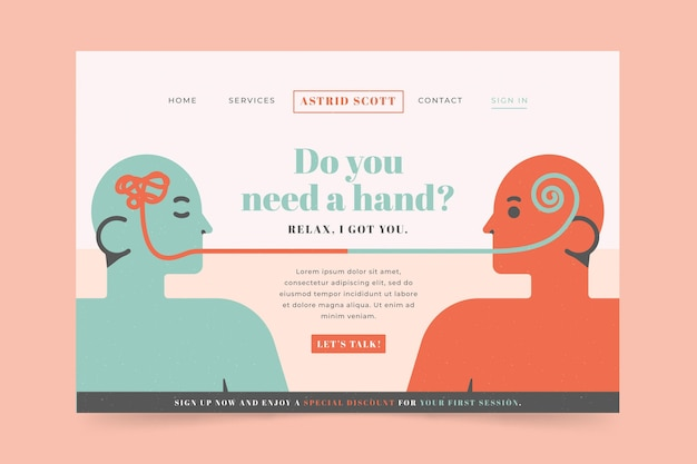 Landing page for psychological help Free Vector
