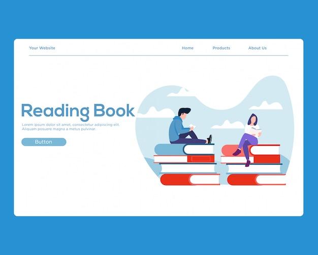 Landing page. reading books Premium Vector