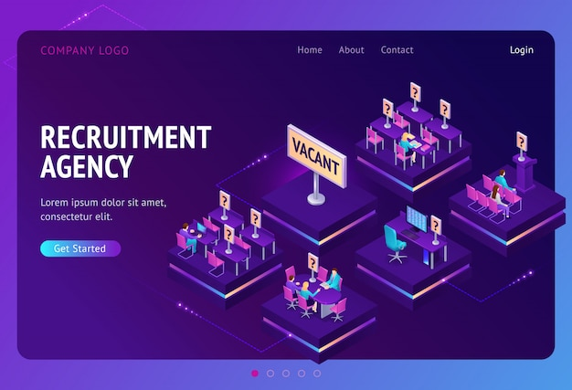 Landing page for recruitment agency Free Vector