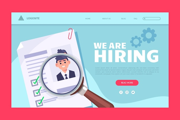 Landing page for recruitment announcement Free Vector