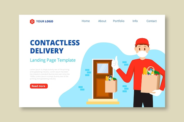Landing page for safe food delivery Free Vector