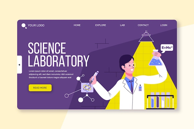 Landing page scientific research template Free Vector