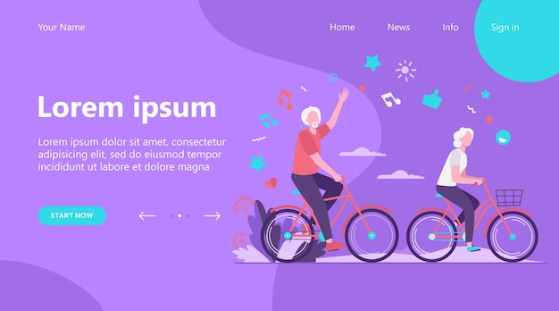 Landing page, senior man and woman riding bikes in city park. happy cartoon old family couple enjoying outdoor activity. vector illustration for retirement, active lifestyle, age, relationship concept Free Vector