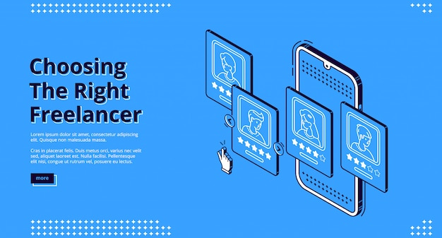 Landing page of service for review freelancers Free Vector