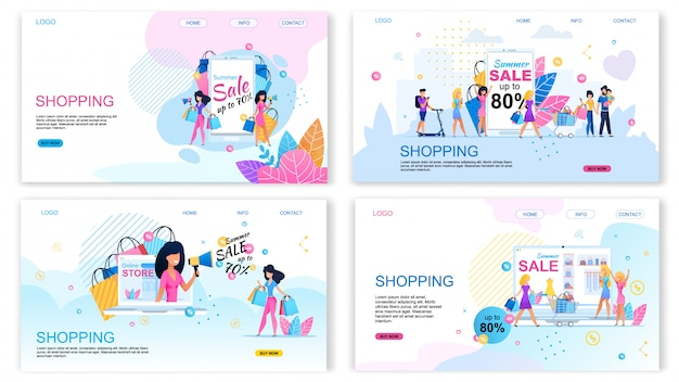Landing page set offering buy with different discounts Premium Vector