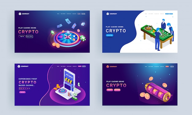 Landing page set with illustration of gambler characters, roulette wheel, slot machine and crypto coins for play casino using crypto. Premium Vector