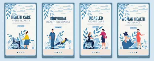 Мобильный landing page set, предлагающий медицинское обслуживание Premium векторы