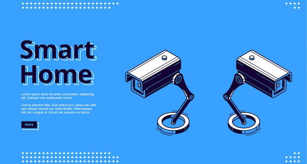 Landing page of smart home with camera icon Free Vector